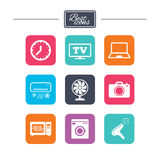 Home appliances, device icons. Electronics sign. Stock Image