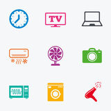 Home appliances, device icons. Electronics sign. Stock Photo