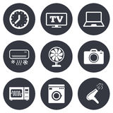 Home appliances, device icons. Electronics sign Stock Photos