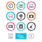 Home appliances, device icons. Electronics sign. Stock Photography