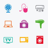 Home appliances, device icons. Electronics sign. Royalty Free Stock Photos