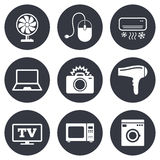 Home appliances, device icons. Electronics sign Royalty Free Stock Images