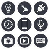 Home appliances, device icons. Electronics sign Stock Images
