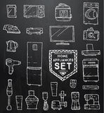 Home appliances doodle set. Vector illustration. Royalty Free Stock Photography