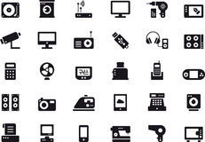 Home appliances and electronic devices icons Stock Photography