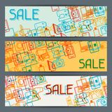 Home appliances and electronics horizontal banners Royalty Free Stock Image