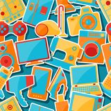 Home appliances and electronics seamless patterns Royalty Free Stock Image