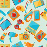 Home appliances and electronics seamless patterns Royalty Free Stock Photos