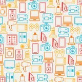 Home appliances and electronics seamless patterns Stock Photo