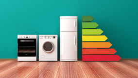 Home appliances and energy efficiency rating. 3d illustration vector illustration