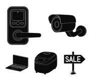 Home appliances and equipment black icons in set collection for design.Modern household appliances vector symbol stock. Illustration Stock Photography