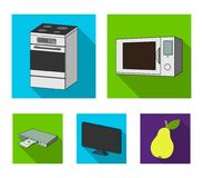 Home appliances and equipment flat icons in set collection for design.Modern household appliances vector symbol stock. Illustration Royalty Free Stock Image