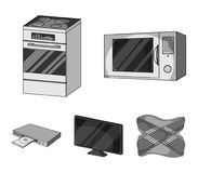 Home appliances and equipment monochrome icons in set collection for design.Modern household appliances vector symbol. Stock  illustration Royalty Free Stock Image