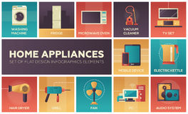 Home Appliances -flat design icons set Royalty Free Stock Photo