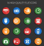 Home appliances 16 flat icons. Home appliances vector icons for web and user interface design royalty free illustration