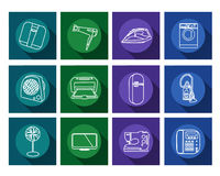 Home appliances flat icons set Royalty Free Stock Image