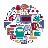 Home appliances in the form of a circle Royalty Free Stock Images