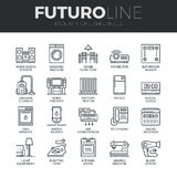 Home Appliances Futuro Line Icons Set Royalty Free Stock Image