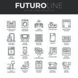 Home Appliances Futuro Line Icons Set Royalty Free Stock Image