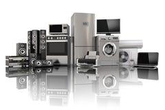 Home appliances. Gas cooker, tv cinema, refrigerator air conditi Stock Photos