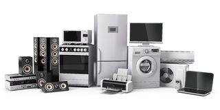 Home appliances. Gas cooker, tv cinema, refrigerator air conditi Royalty Free Stock Images
