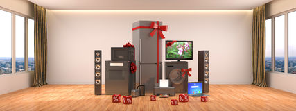 Home appliances. Gas cooker, tv cinema, refrigerator, microwave, Royalty Free Stock Image