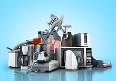 Home appliances Group of vacuum cleaner microwave iron coffee ma. Ker steam kettle toaster meat grinder on blue background 3d stock images