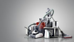 Home appliances Group of vacuum cleaner microwave iron coffee ma. Ker steam kettle toaster meat grinder isolated on grey background 3d royalty free stock photo