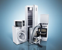Home appliances Group of white refrigerator washing machine stov Stock Photo