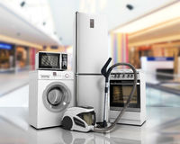 Home appliances Group of white refrigerator washing machine stov Royalty Free Stock Images