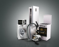 Home appliances Group of white refrigerator washing machine stov Stock Images