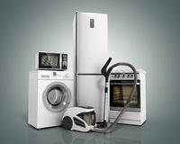 Home appliances Group of white refrigerator washing machine stov Stock Photography