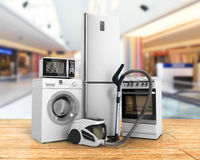Home appliances Group of white refrigerator washing machine stov Royalty Free Stock Photography