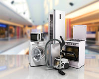 Home appliances Group of white refrigerator washing machine stove Stock Photo