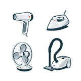 Home Appliances 5 - Hair Dryer, Iron, Fan, Vacuum Cleaner. Set of four cartoon vector icons of a hair dryer, clothes iron, mechanical fan and canister vacuum royalty free illustration