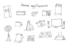 Home appliances hand drawing Stock Photo