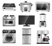 Home Appliances, Household Equipments. Vector Illustration of Photo Realistic Home Appliances Stock Illustration