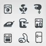 Home appliances icon set. Vector illustration of home appliances on light background Stock Photos