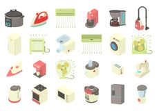 Home appliances icon set, cartoon style Stock Photo