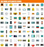 100 home appliances icon set, flat style. 100 home appliances icon set. Flat set of 100 home appliances icons for web design vector illustration