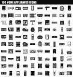 100 home appliances icon set, simple style. 100 home appliances icon set. Simple set of 100 home appliances vector icons for web design isolated on white vector illustration