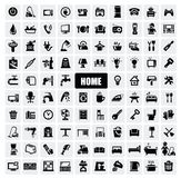 Home appliances icons. Vector black home appliances icons set on gray Stock Image