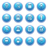Home appliances  icons on blue buttons. Stock Images