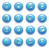 Home appliances icons on blue buttons, set 2. Stock Images