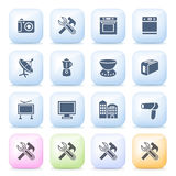 Home appliances icons on color buttons. Stock Image
