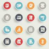 Home appliances icons with color buttons on gray background. Royalty Free Stock Image