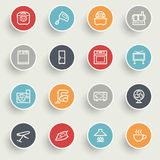 Home appliances icons with color buttons on gray background. Royalty Free Stock Photos