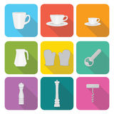 Home appliances icons in flat design set 1 Royalty Free Stock Image