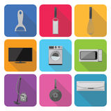 Home appliances icons in flat design set 2 Royalty Free Stock Photography