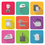 Home appliances icons in flat design set 3 Stock Photo